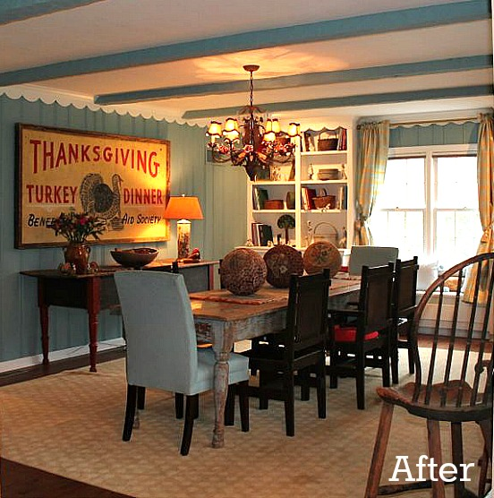 A dining room after paneling painted blue