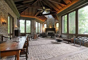 giant screened porch brick floor Nashville house