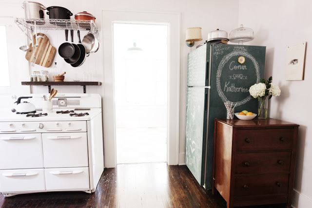 refrigerator painted with chalkboard paint you can write on