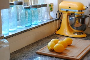 yellow KitchenAid mixer and lemons-Chania