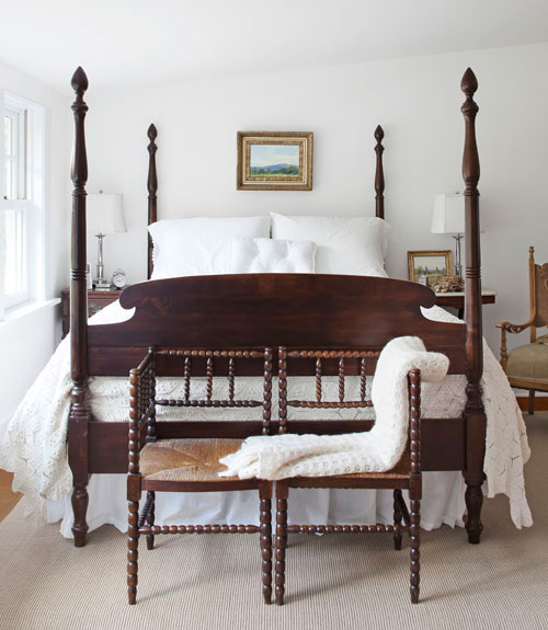 A white christmas in a country farmhouse for Bedroom designs with four poster beds