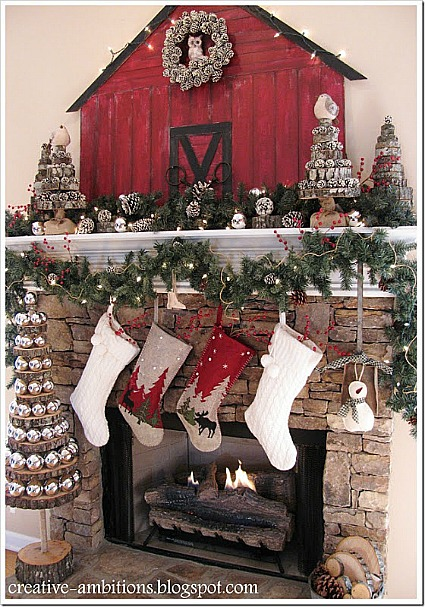 stone fireplace with stockings