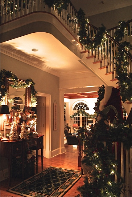 entry way of house decorated for Christmas