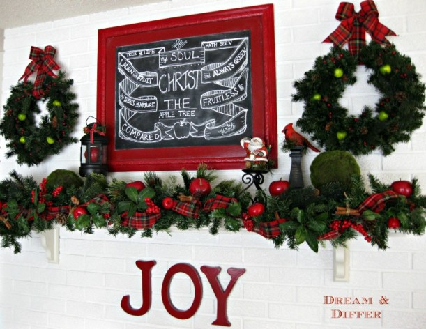blackboard with red frame over mantel