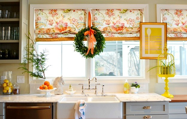 Edie's boxwood wreath in kitchen-BHG 1-13