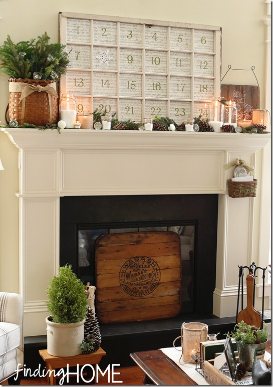 A living room fireplace with Advent Calendar