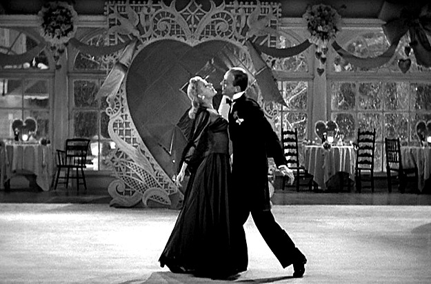 Fred Astaire and Marjorie Reynolds dancing in Valentine\'s Day performance