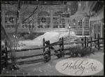 front exterior of Holiday Inn covered in snow from classic black and white movie