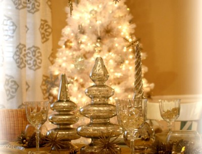My Silver & Gold Dining Room Decorated for Christmas…