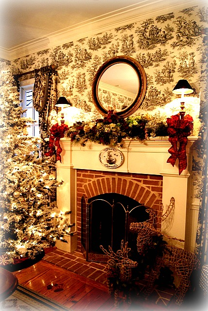 fireplace with garland on mantel