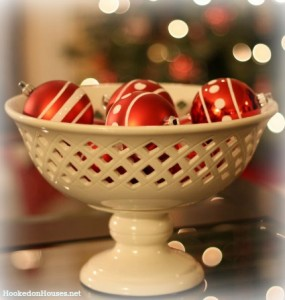 Red Christmas ornaments in white bowl 1210