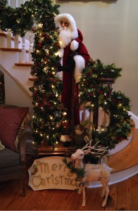 Santa at the base of the stairs