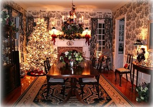 black and white toile and Christmas tree dining rm 2