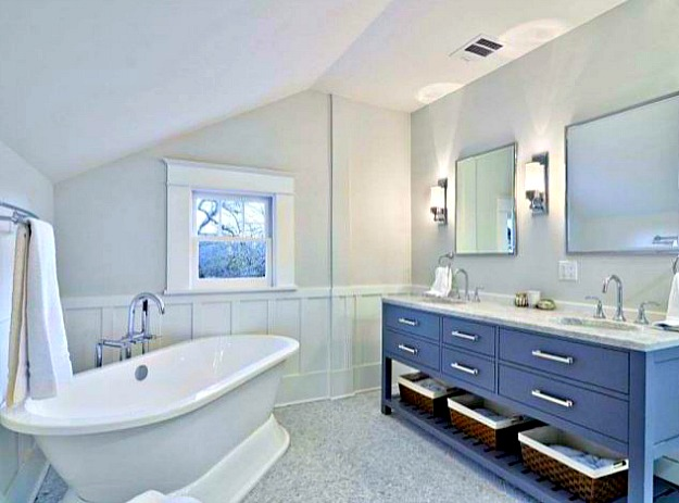 master bathroom with freestanding tub. master bath freestanding tub after reno  Hooked on Houses