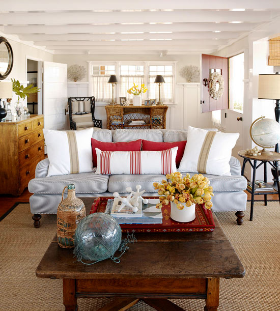 Cozy Coastal Living Room: A Beach Cottage That's Black And White And Red All Over
