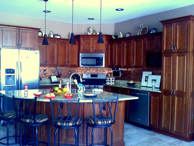 Barbara Ann's kitchen cherry cabinets penny backsplash