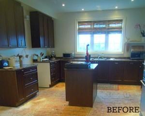 Chris's builder basic kitchen dark cabinets before