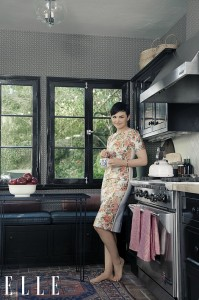 ELLE Ginnifer Goodwin at home in Hollywood