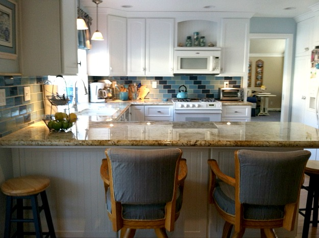 Lisa's beach-inspired kitchen blue tile