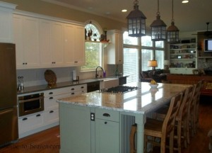 Missi's kitchen after reno lantern pendants