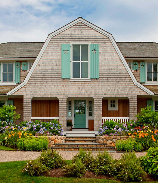 A shingled house with aqua shutters on cape cod hooked for Cape cod exterior