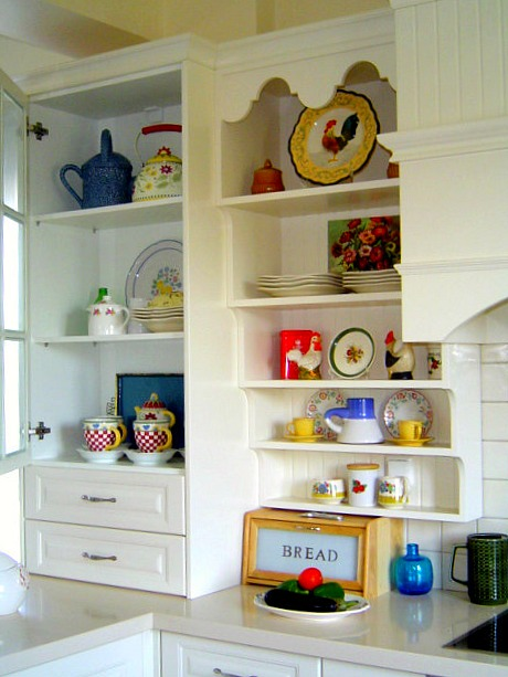 Poppy's kitchen shelves close up
