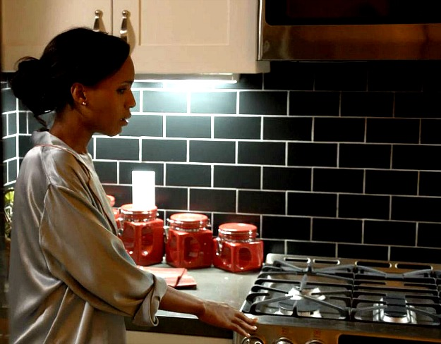 black subway tile in Olivia Pope's kitchen