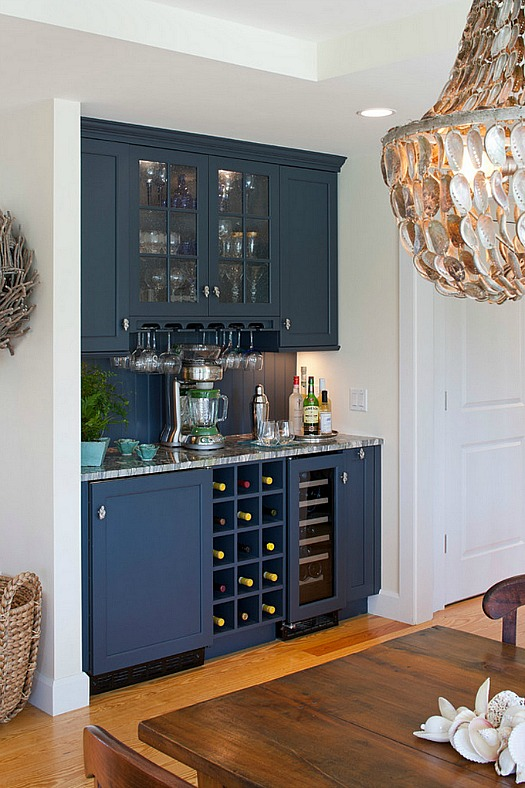 built-in bar in Cape Cod kitchen