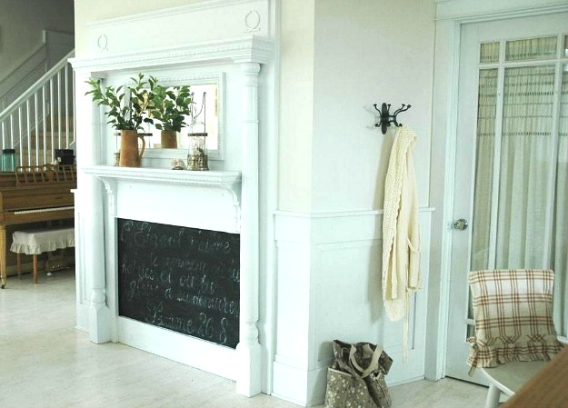 faux fireplace in living room