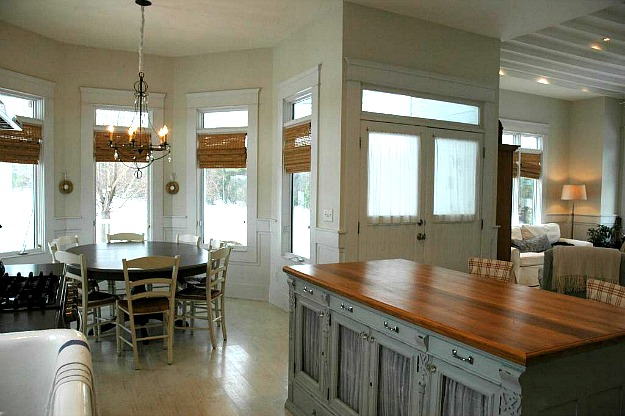 kitchen island and dining area after