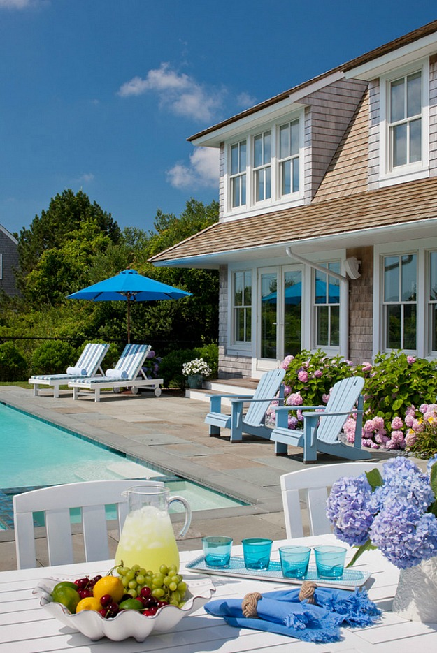 poolside in Cape Cod-shingled house
