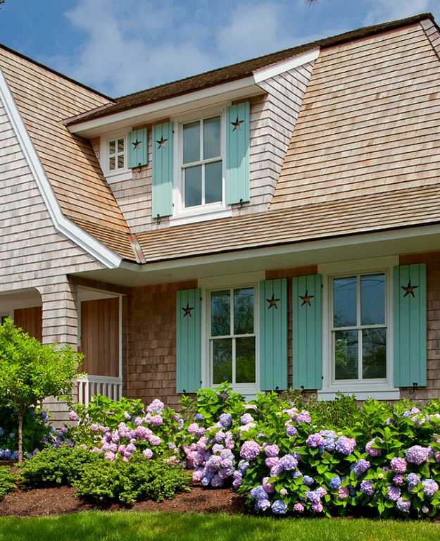 shingled house turquoise shutters Cape Cod 2