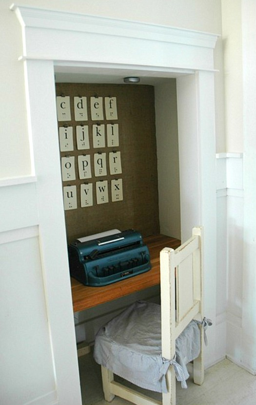 writing nook for Charlotte with Braille flashcards