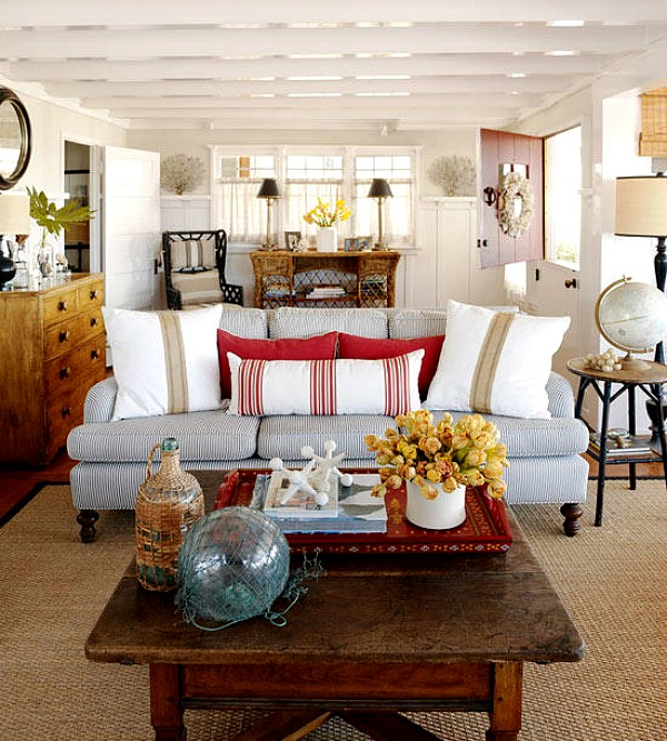 Beach Haven Beach Cottage living room red accents