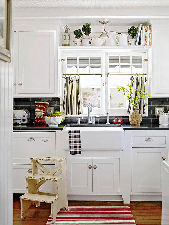 Black and White Beach Cottage Kitchen Red Accents