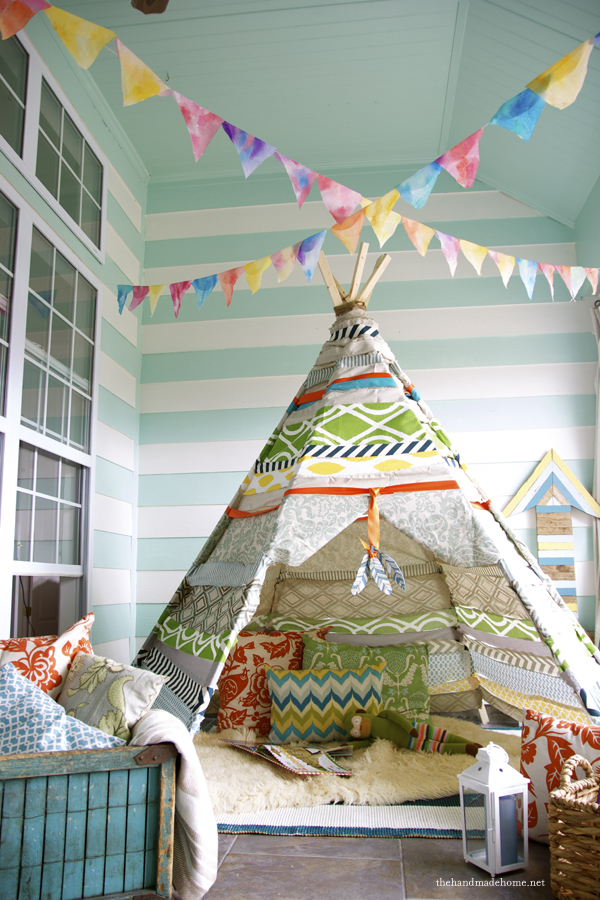 colorful indoor teepee for children