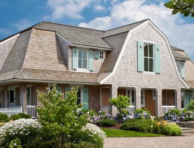 A Shingle-Style House on Cape Cod with Aqua Shutters