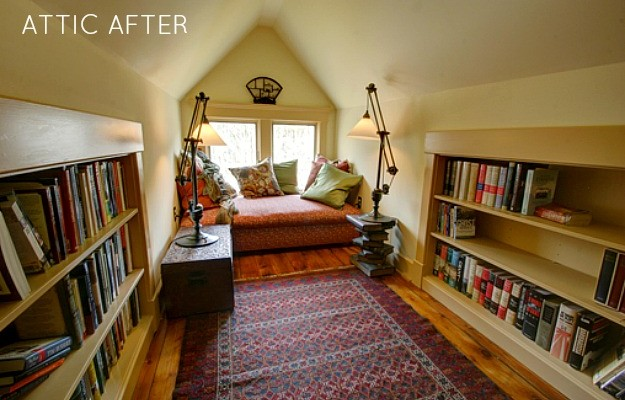Victorian farmhouse attic finished-reading nook