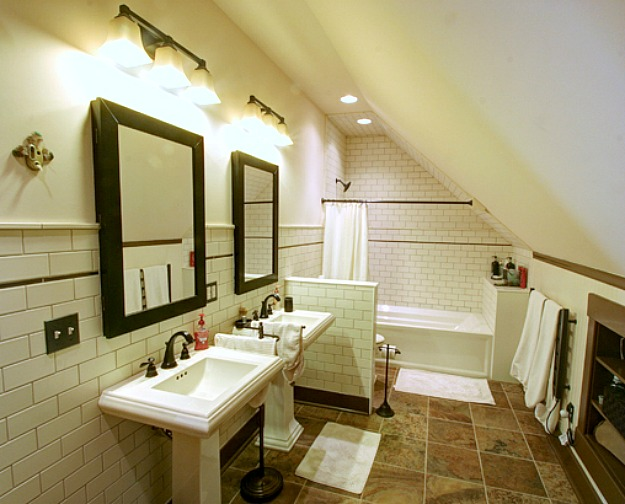 bathroom with slanted attic wall