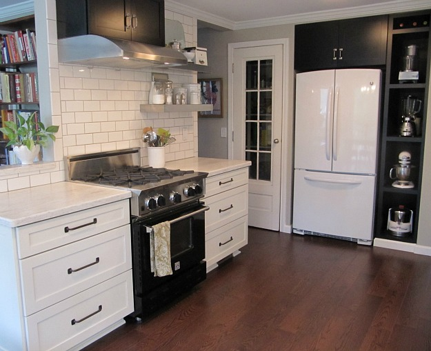 Kitchens With Dark Cabinets White Appliances Space So We Added Upper Cabinets And Shelving And Built A Pantry
