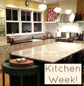 A kitchen with an island and the words Kitchen Week on photo