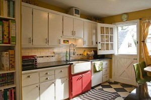 Amy's white kitchen with checkerboard floors
