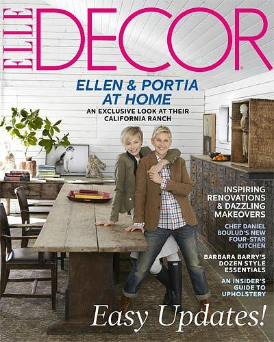 Ellen and Portia cover of Elle Decor