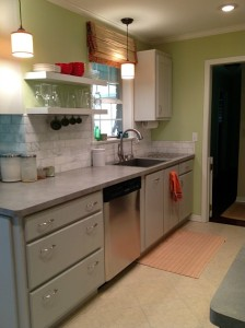 Peggy's pale green kitchen