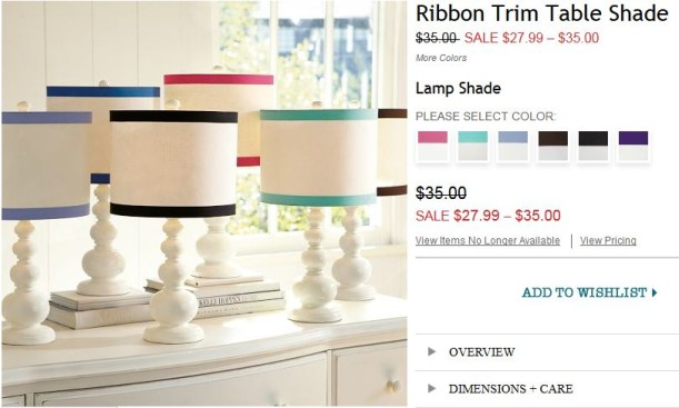 Ribbon trim table lamp PBTeen ordered 3-17-13
