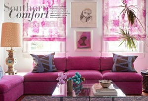 A colorful living room featured in Lonny Magazine