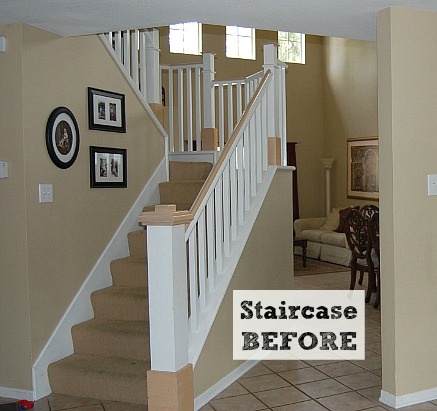 Before after jennifer 39 s diy staircase makeover hooked for Diy staircase makeover