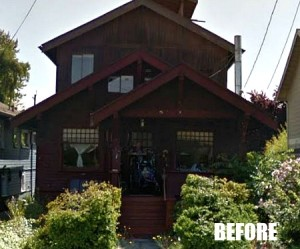 Beat up bungalow before modern makeover