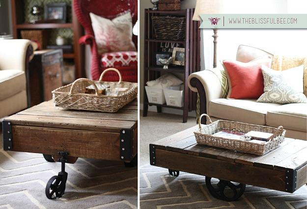 DIY Factory Cart in small living room