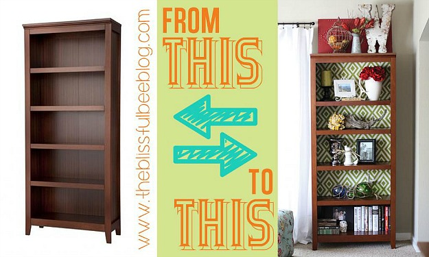 DIY bookshelf makeover with fabric